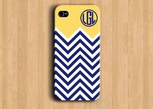 Personalized Monogram iPhone 5s Case - Soft Yellow,Navy Blue Chevron Monogram - Personalized bridesmaid gift Iphone 5 cover