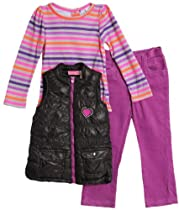 Young Hearts Toddler Girls 3 Piece Puffy Vest Neon Shirt Purple Corduroy Pants
