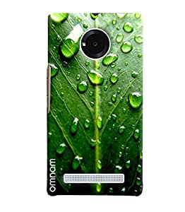 Omnam Green Leaf Effect With Water Drops Printed Designer Back Cover Case For Micromax Yuphoria