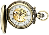 Charles-Hubert, Paris 3865-G Classic Collection Gold-Plated Antiqued Finish Hunter Case Mechanical Pocket Watch