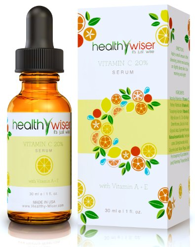 Vitamin C Serum For Your Face 20% Vitamin A, E Made In The Usa + Free Skin Care Ebook - The Best Natural & Organic Anti Aging Formula - Packed With Pure Natural Essential Oils - Stimulates Collagen & Hyaluronic Acid - Will Reduce Fine Lines & Wrinkles And