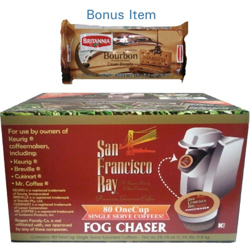 San Francisco Bay Coffee Fog Chaser - 80 OneCups for Keurig K-Cup Brewers + FREE BONUS Biscuits