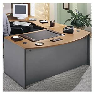 Bush Furniture Series C Right L-Shape Wood Executive Desk in Natural Cherry