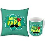 Fathers Day Gift Green Best Papa 12x12 Filled Designer Cushion & Printed Ceramic Designer Mug Pair