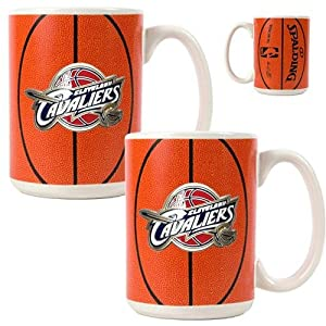 NBA Cleveland Cavaliers Two Piece Ceramic Gameball Mug Set - Primary Logo by Great American Products