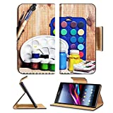Sony Xperia Z Ultra C6806 C6833 Flip Case Paintbrushes watercolor gouache and paper are on wooden shelf IMAGE 19507948 by MSD Customized Premium Deluxe Pu Leather generation Accessories HD Wifi Luxury