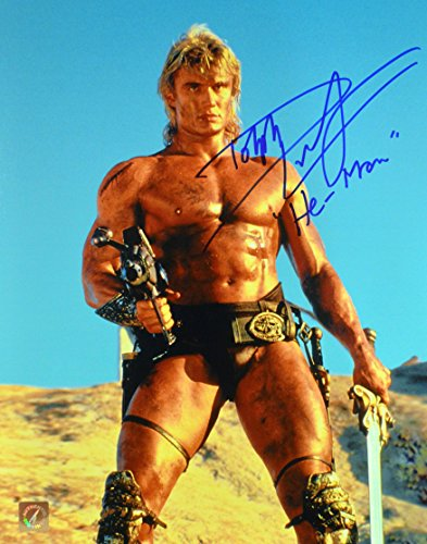 "Dolph Lundgren ""He-Man"" Signed Masters Of The Universe 11x14 Photo ""Holding Gun"""