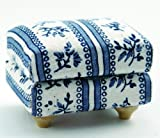 DOLLS HOUSE BLUE SOFA STOOL 1/12TH