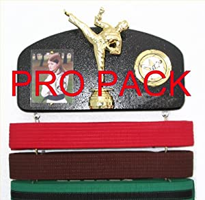 Martial arts belt display with a KICK ! PRO PACK. Expandable to hold ALL your belts !