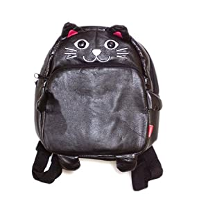 Children Toddler kid's leather bag school cartoon animal Fruit backpack Toddler Schoolbag 14 styles_cat pattern- Gaorui