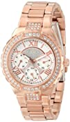 GUESS Womens U0111L3 Sparkling Hi-Energy Mid-Size Rose Gold-Tone
