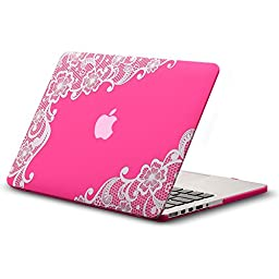 Kuzy - Retina 15-inch Lace NEON PINK Rubberized Hard Case for MacBook Pro 15.4\