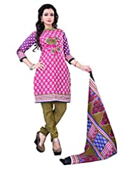 Surat Tex Pink Color Casual Wear Printed Cotton Un-Stitched Dress Material-E463DL126SR