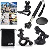 EEEKit 6-in-1 Basic Accessries Kit for , Sony Action Cam GoPro JVC Action Sports Cameras, Extendable Handheld Monopod + Car Sun Visor Mount + Bike Handlebar Holder + Car Windshield Suction mount