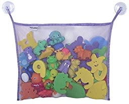 Toyganizer Bath Toy Organizer + 2 Bonus Strong Hooked Suction Cups, Purple