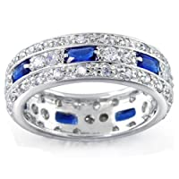 Bling Jewelry Silver Emerald Cut Blue Sapphire CZ Band Ring