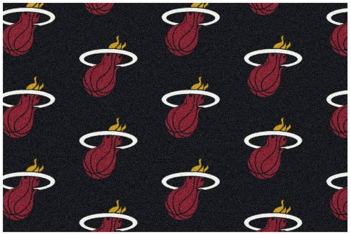 6'X9' Miami Heat - Custom Nba Team Repeat Area Rug Broadloom Carpet By Milliken - National Basketball Association Logo With Premium Bound Edges front-67389