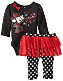 Disney Baby Girls Minnie Mouse Polka Dots 2 Piece Skegging Set, Black/Red, Newborn