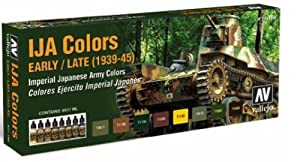 Vallejo Model Air Imperial Japanese Army Acrylic Paint Set for Air Brush - Assorted Colours (Pack of 8)