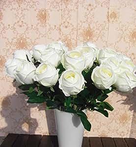 Bridal Wedding Bouquet Latex Silk Flower Bouquets White Lot Of 10pcs