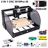2-in-1 5500mW Laser Engraver CNC 3018pro-M Engravering Machine, GRBL Control 3 Axis DIY Mini CNC Machine Wood Router Engraving Machine with Offline Controller + ER11 Extension Rod . (Color: Black,Slive, Tamaño: 3018Pro-M+5500mW)