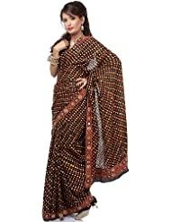 Exotic India Black Bandhani Sari With Hand-Embroidered Rabari Patch Bord - Black