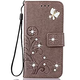 Note 7 Case,Superstart Luxury 3D Fashion Handmade Bling Crystal Rhinestone Butterfly Floral Lucky Flowers PU Flip Stand Credit Card ID Holders Wallet Leather Case Cover for Samsung Galaxy Note 7--Gray