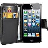 TRIXES �tui de protection portefeuille en cuir avec rabat pour iPhone 4 4S noir