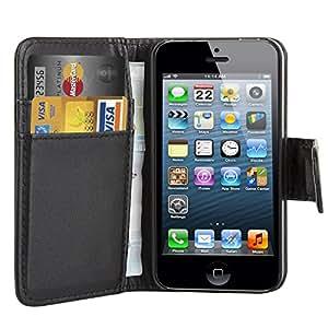 TRIXES Étui de protection portefeuille en cuir avec rabat pour iPhone 4 4S noir