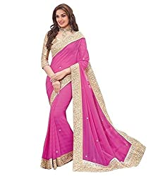 Sonani Fashion Designer Party Wear Low Price Sale Offer Pink Color Embroidered Sarees Sari With Unstitched Blouse Piece