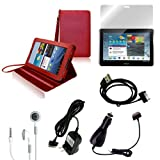 CrazyOnDigital Red Stand Leather Case with Charger and Screen Protector For Samsung Galaxy Tab 2 10.1 (6-item)