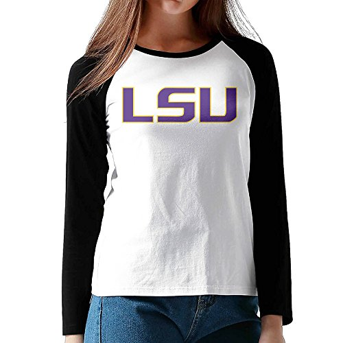 [Ahey Woman's Raglan Louisiana State University LSU Comfort Tee Black L] (Lsu Mascot Costume)