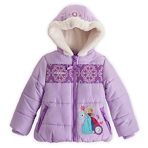 Disney - Anna and Elsa Hooded Puffy Jacket for Girls - Frozen - Size 4