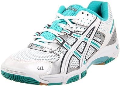 ASICS Women's Gel Rocket 5 Volleyball Shoe,White/Teal/Silver,10 M US
