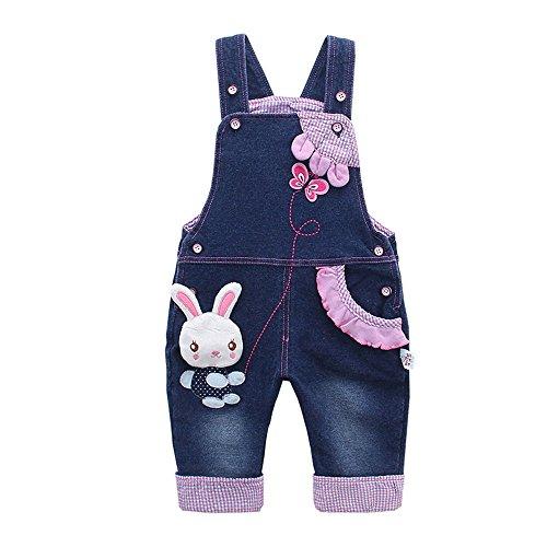 Kidscool Baby Girls Casual Soft Denim Overalls Rabbit