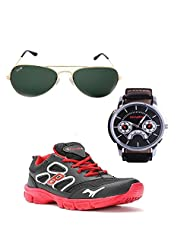Elligator Stylish Black & Red Sport Shoes & Watch With Elligator Sunglass For Men's