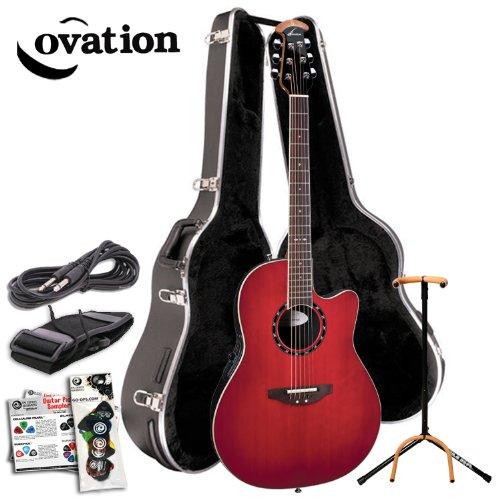 Ovation 1861AX-CCB Standard Balladeer Super-Shallow Acoustic/Electric Guitar Kit. Hard Case, Ultra Stand, Planet Waves 16 Pick Sampler Pack (#PW-SAMPLER), Guitar Strings, Guitar Strap, Planet Waves 10ft Cable