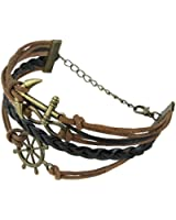 MBOX Vintage Nautical Rudder Anchor Bracelet Infinity Handmade Coffee Leather Rope