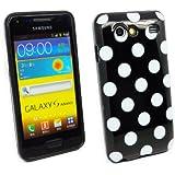 Kit Me Out DE TPU-Gel-Hülle für Samsung Galaxy S Advance i9070 - Schwarz, Weiß Punkte