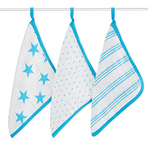 aden + anais Classic Washcloth, Fluro Blue, 3 Pack