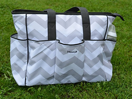 NimNik Baby Diaper Bags Chevron w/ Changing Mat Best Quality Designer Diapers Bag for Girls Boys Twins, Shower Gifts for Mom Dad