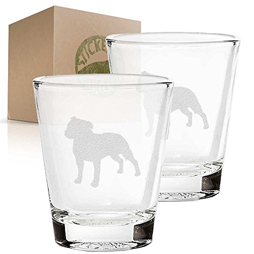 Staffordshire Bull Terrier Dog etched glass shot glass set of two etch shot glasses for bar