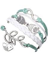 Retro Owl Infinity Olive Branch Bracelet Braided Leather Rope Wrap Infinite Bangle