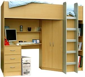 High Sleeper Calder High Bed M227b - Beech