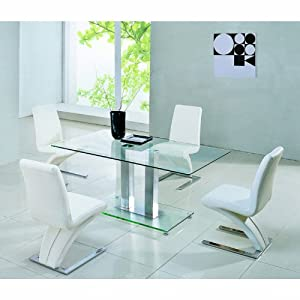 Jet Dining Table Set Clear Glass Top Extending 4 Black And Cream Tag Cha