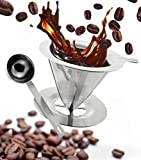 Clever-Pour-Over-Cone-Coffee-Dripper-Stainless-Steel-Brewer-Stand-w-Measuring-Scoop-Reusable-Hand-Drip-Single-Cup-Coffee-Maker-for-Slow-Drip-Enjoy-The-Perfect-Pour-Over-Coffee-Set-w-Permanent-Filter