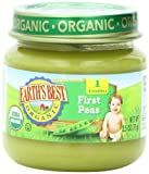 Earths Best Organic First Peas, 2.5 Ounce Jars (Pack of 12)