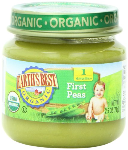 Earth's Best Organic Stage 1, Peas, 2.5 Ounce Jar (Pack of 12) (Canned Baby Food compare prices)