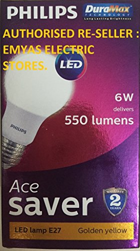 Philips Ace Saver 6W E27 550L LED Bulb (Warm White, Pack of 6)