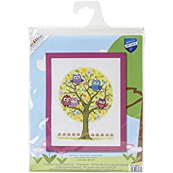 Vervaco - Kit de punto de cruz, diseño de búhos, multicolor